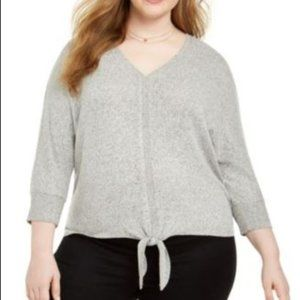 NEW Style & Co Gray V-Neck Top Plus Size